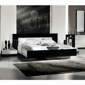 Lit 180x200 Blanc : aroma lit 180x200 avec luminaires noir blanc achat vente ensemble literie cdiscount ~ Teatrodelosmanantiales.com Idées de Décoration