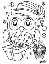 Coloring Owl Reindeer Sleigh Merry sketch template