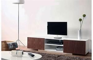 Meuble Tv Design Pas Cher : meuble tv design blanc et noyer serena meuble tv miliboo ventes pas ~ Teatrodelosmanantiales.com Idées de Décoration