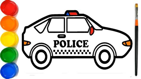 draw  police car car drawing drawing  kids painting coloring learn colors