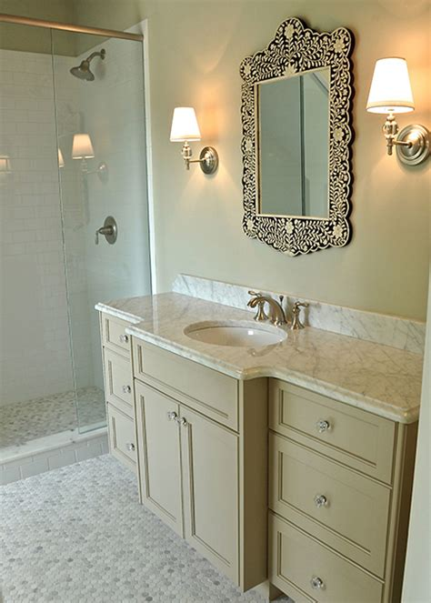bone inlay mirror traditional bathroom  kae interiors