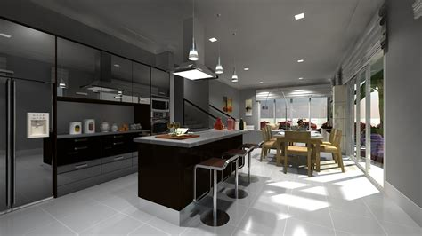 kitchen architecture modeling rendering project