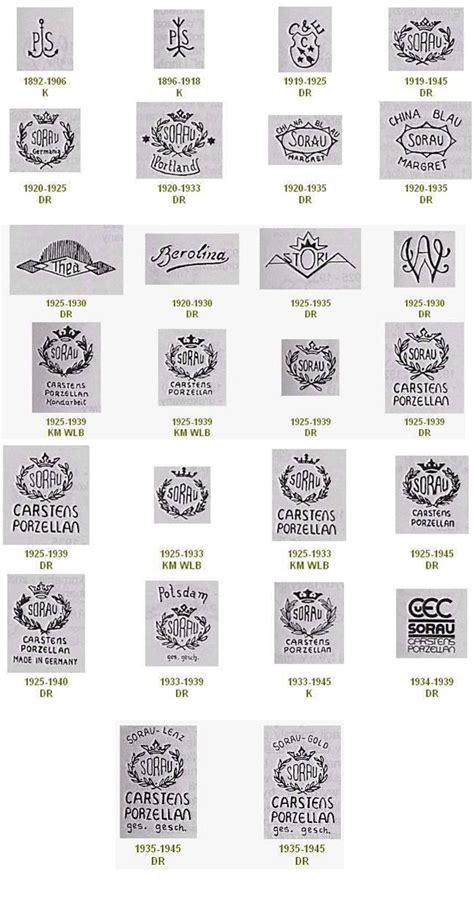 Porzellanmarken Stempel übersicht by Sorau Verschiedenen Porzellanmarken Stempel Sorauer