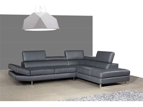 promo canape cuir canapé cuir angle droit leman coloris gris prix promo