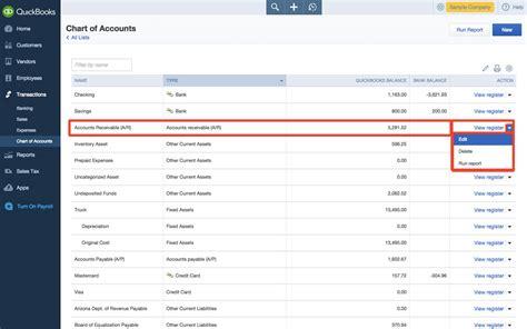 edit chart  accounts  quickbooks