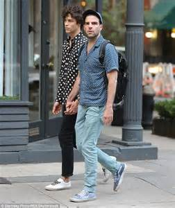 Bench T Shirts For Men by Zachary Quinto And Beau Miles Mcmillan Wear Polka Dot