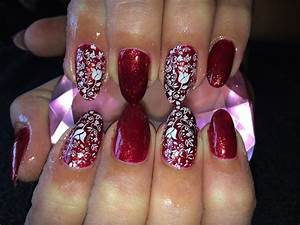 Acrylic Nails l Red Glitter White l Nail Design - YouTube