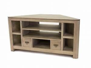 Meuble Angle Bois : meuble tv d 39 angle holly 7 niches 2 tiroirs meubles ~ Edinachiropracticcenter.com Idées de Décoration