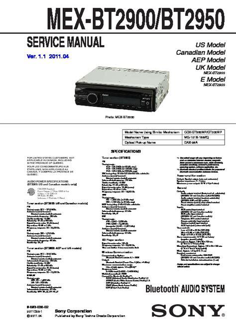 sony mex bt2900 mex bt2950 service manual free