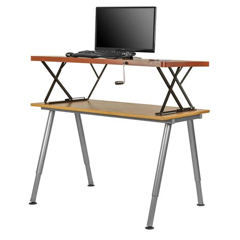 height adjustable sit stand desk manual adjustable height table top sit stand desk cherry