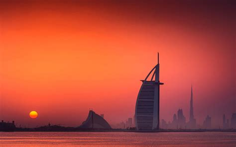 cityscape sunset dubai wallpapers hd desktop