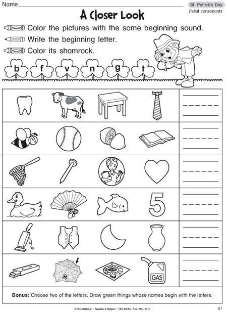 Kindergarten Phonics Worksheetgood For Homework (free!)  Prek Abc  Literacy Centers
