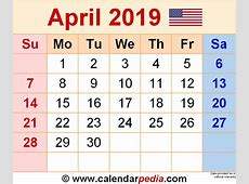 April 2019 Calendars for Word, Excel & PDF