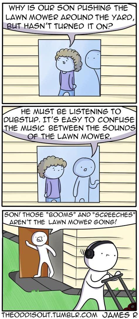 mowing  lawn theoddsout pinterest comics