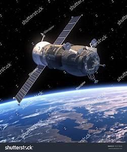 Cargo Spacecraft Orbiting Earth. 3d Scene. Elements Of ...