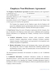 Employee Non-disclosure Agreement Template Download Printable PDF   Templateroller
