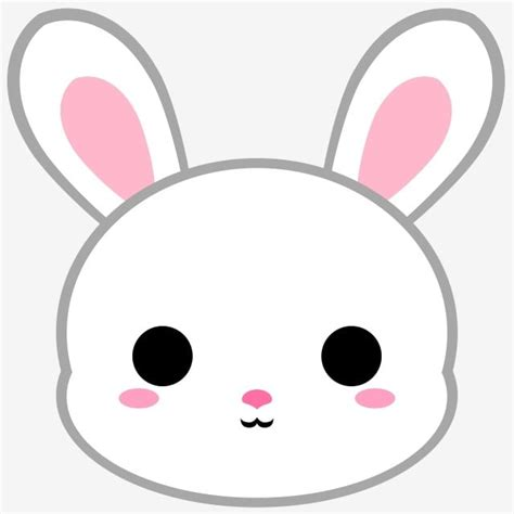 cartoon white bunny head bunny rabbit animal png