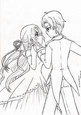 Couple Coloring Lineart Anime Couples Kissing Unknown Deviantart Drawing Drawings Manga Sheets Designlooter sketch template