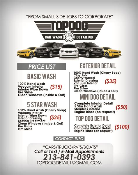 car detailing price list template mobile auto detailing flyers gallery
