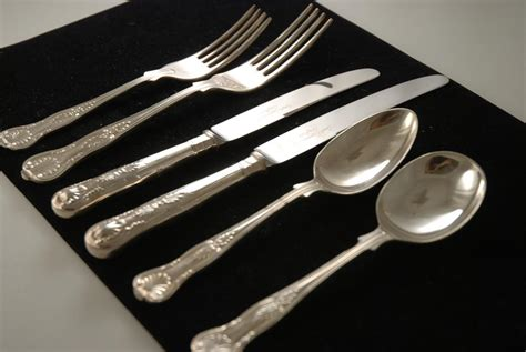 silver cutlery plated flatware pattern kings silverware plate stainless steel gold coating dinnerware plates pure 5pcs fork quality clean handle
