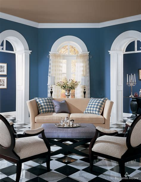 Excellent Informal Brown And Blue Living Room Wall Painted