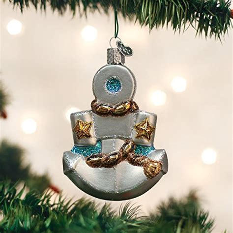 world christmas glass blown ornament nautical anchor