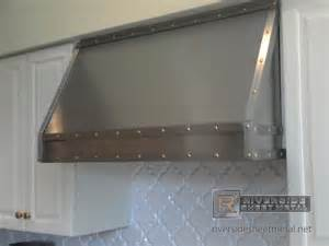 kitchen stove backsplash stainless steel custom vent with band and brass rivets