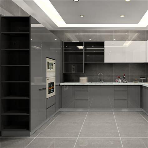 high gloss finish kitchen cabinet grey base cabinet and