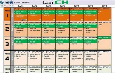 excel workout tool  tai cheng