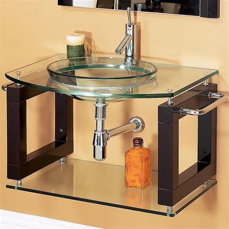 Glass Bathroom Vanity by Laguna 34 Quot Wall Mounted Bathroom Vanity With Glass