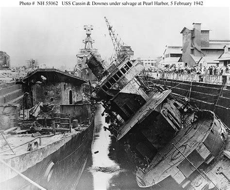 usn ships uss cassin damaged  pearl harbor