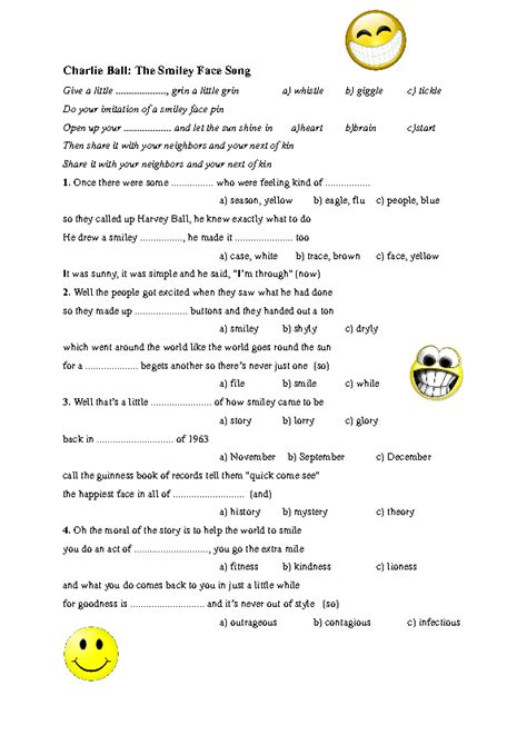 song worksheet smiley face song