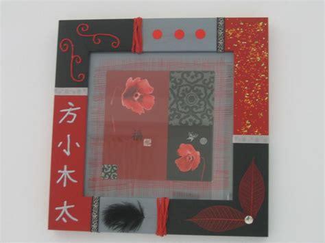 cadre d asie avec carte postale peinture et rubans cr 233 ations home d 233 co et miroir de isabelle