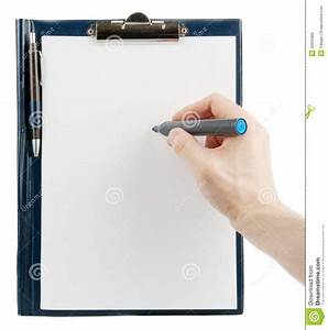 hand writing on an empty document in a clipboard stock With document clipboard
