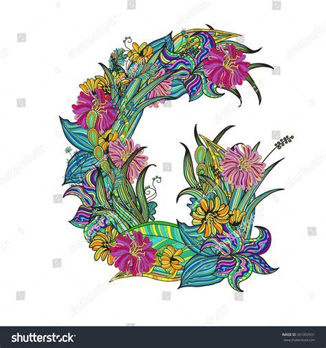 floral font letter h stock photos floral font letter h handdrawn floral font letter g stock vector 261052931 60525