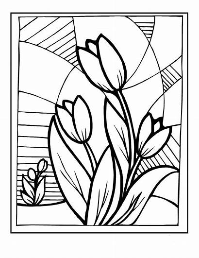 Stained Coloring Glass Pages Adults Printable Flowers
