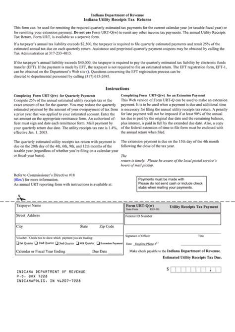 Form Urt Qw Indiana Utility Receipts Tax Returns 2010 Printable Pdf Download