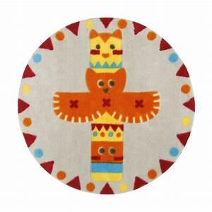 Tapis Rond Enfant : tapis rond d70cm pour enfant motif totem gris orange indiana les tapis de chambre d 39 enfants ~ Teatrodelosmanantiales.com Idées de Décoration