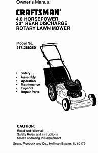 Craftsman 917388260 User Manual Walk Behind Lawn Mower
