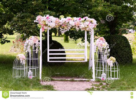 Wedding Composition With A White Swing Stock Image Image