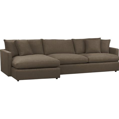 two piece sectional sofa sectional sofas leather and fabric crate and barrel