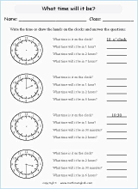 time measurement math worksheets  primary math students