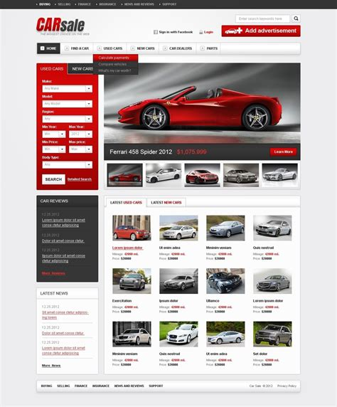 New Car Websites new used cars website template 38522