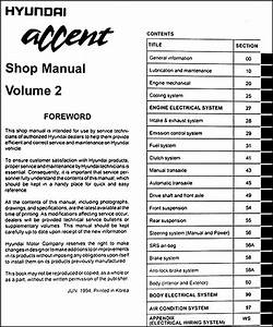 1995 Hyundai Accent Repair Shop Manual Original 2 Volume Set