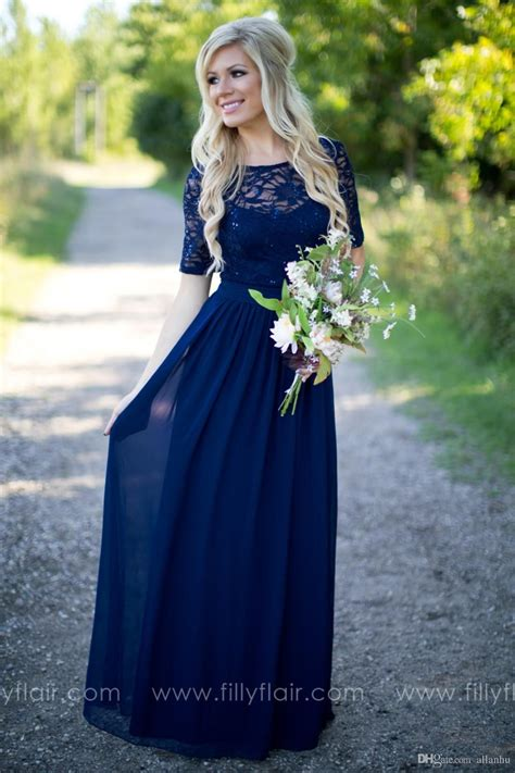2019 Country Style Navy Blue Bridesmaid Dresses Sheer Crew