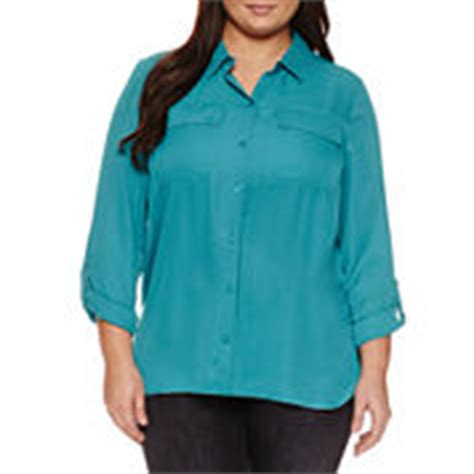 jcpenney plus size blouses plus size button front shirts blue tops for jcpenney