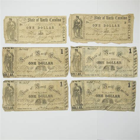 Civil War Notes by 6 X Civil War Era 1861 Confederate State Carolina One Dollar Notes Raleigh Antique