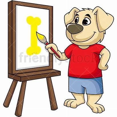 Canvas Painting Dog Cartoon Mascot Clipart Friendlystock