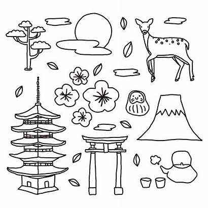 Japanese Doodles Vector Shrine Japan Elements Icon