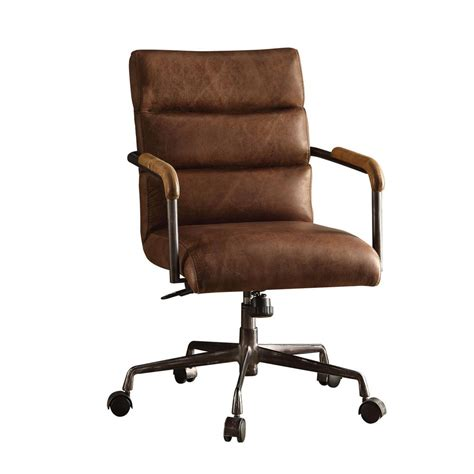 chaise bureau office depot acme furniture harith retro brown top grain leather office